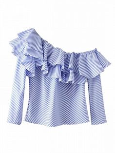 Shop Blue Stripe Off Shoulder Ruffle Detail Long Sleeve Blouse from choies.com .Free shipping Worldwide.$20.69