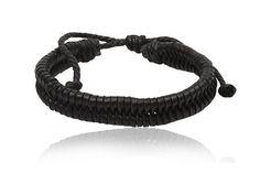 Fashion Black Leather Wrap Cuff Rasta Plait Bracelet Men's Jewelry Beta Jewelry. $3.45