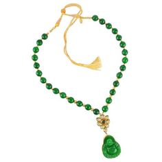 Green Onyx with Crystal polki and Onyx Carving Buddha Handmade