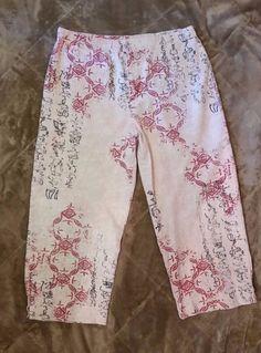 Chico's DESIGN Size 1 Stretch Cotton Asian Print Capri Crop Pants Jeans  #Chicos #CaprisCropped