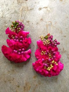 botanical earrings - with coxscomb, porcelain vine and kalanchoe , Francoise Weeks