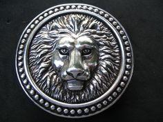 ROMAN FOUNTAIN LION HEAD ANIMAL CIRCUS 3D BELT BUCKLE: