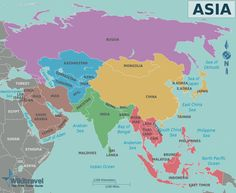 Map of Asia that can be used in Asia Study for Year 6 - Australian Curriculum: Geography. West Asia (The Middle East), South Asia (India and surrounding areas), North-East Asia (Japan/Russia/China/Korea/Taiwan) and South-East Asia.