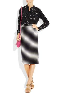striped knitted cotton pencil skirt.