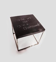 Berkeley Concrete Chalkboard Cube Table by Patrick Cain Designs on Scoutmob Shoppe. Leave a note where someone might actually see it with this Berkeley cube table.