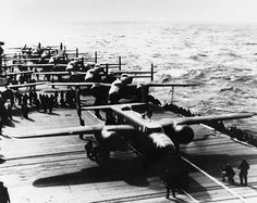 B-25s sit aboard the USS Hornet before the Doolittle Raid.