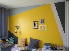 Discover recipes, home ideas, style inspiration and other ideas to try. Bedroom False Ceiling Design, Bedroom Wall Designs, Bedroom Wall Colors, Room Colors, Bedroom Yellow, Yellow Walls, Paint Colors, Interior Walls, Interior Design