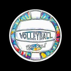 Hip Tie Dye Volleyball design by Mudge Studios for volleyballers who live and breathe vball. Volleyball Rocks... Can U Dig It?