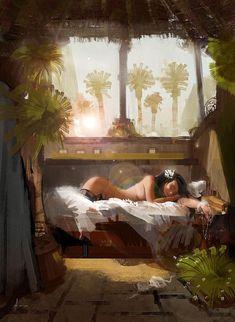 Concept Art by Aleksei Vinogradov - illustration - Egypt Concept Art, 3d Fantasy, Art And Illustration, Anime Comics, Oeuvre D'art, Erotic Art, Fantasy Characters, Female Art, Art Girl