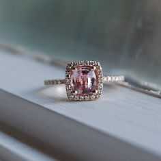 peach lavender champagne sapphire in 14K rose gold and diamond ring. LOVE this.