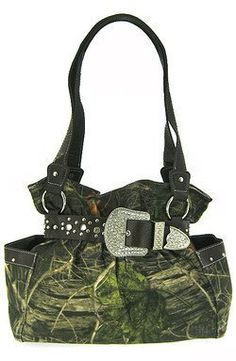 Black Belted Rhinestone Western Buckle Soft Camo Purse Camouflage Cowgirl Bag - Buy New: $42.99