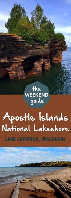 Apostle Islands National Lakeshore encompasses 21 islands as well as shoreline along Lake Superior in northern Wisconsin. The distinctive geology of the area is a result of glacial activity many thousands of years ago leaving beautiful sandstone formation Vacation Destinations, Dream Vacations, Vacation Spots, Vacation Ideas, Vacation Games, Greece Vacation, Wisconsin Vacation, Camping Wisconsin, Wisconsin Attractions