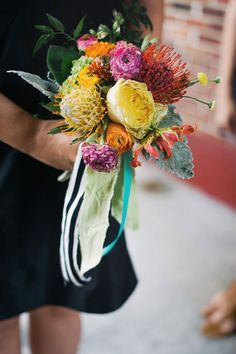 summer bouquet with pincushions, photo by Altmix Photography, styling by Juli Vaughn Designs http://ruffledblog.com/modern-atlanta-wedding #weddingbouquet #flowers