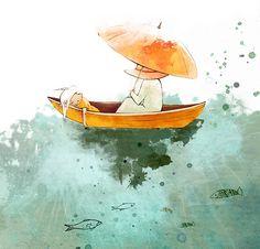 In a boat by Alena Tkach, via Behance