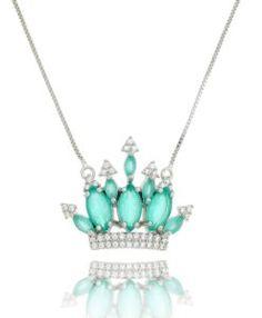 comprar colar turmalina em formato de coroa com zirconias cristais e banho de rodio acessorios femininos da moda coleção 2017