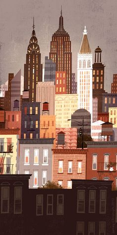 illustration NYC skyline by roshieverde Poster Retro, Posters Vintage, Abstract Illustration, Art Et Illustration, Building Illustration, Creative Illustration, Nyc Skyline, City Skyline Art, Cityscape Art