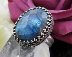 Labradorite Ring Sterling Silver - Faceted Labradorite Statement ring - US size 7 - Labradorite Ring with Butterfly