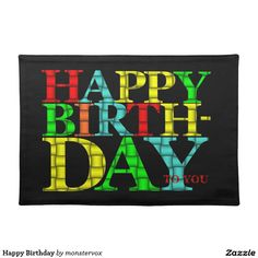 Happy Birthday Cloth Placemat #Birthday #Placemat