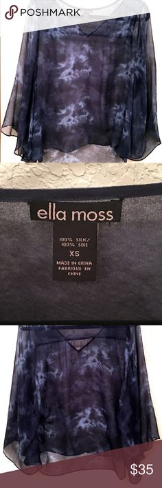 ✨Ella Moss 100% Silk Top✨ ✨Very Elegant, Modern, Bohemian 100% Silk Top! Breezy, sheer & delicate material. you may dressed it up or down. Great for cruises and vacations✨ It is xs but small sizes can easily wear it Ella Moss Tops