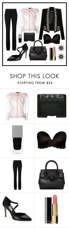 """Powder Black"" by asena-cakmak on Polyvore featuring Simone Rocha, Balmain, NARS Cosmetics, Givenchy, City Chic, Victoria Beckham, Versace, Jimmy Choo, Chanel and Christina Debs"