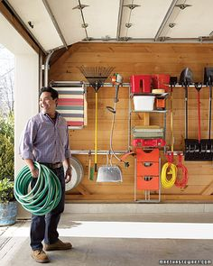 A garage goes from cluttered catch-all to well-ordered work space. Keeping the garage organized and usable can be a challenge. This article has a lot of good ideas on making the most out of your garage. Garage Organization Tips, Organization Station, Garage Storage, Organizing Tips, Garage Ideas, Workshop Organization, Garage Tools, Wall Storage, Organising