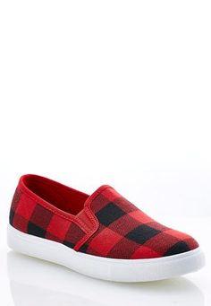 4a78c9c290 Cato Fashions Buffalo Plaid SlipOn Sneakers  CatoFashions Buffalo Plaid