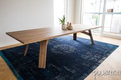 Minimal design white oak large dining table. Design by Puuartisti, Finland.