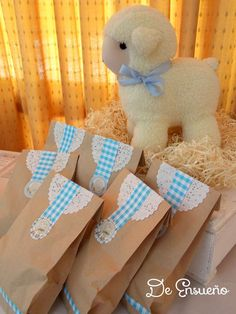 Boy baptism party gingham favor bags! See more party planning ideas at CatchMyParty.com!
