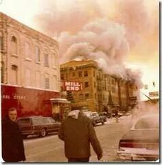 The Wenona Hotel on fire - December I was working at the Bay City Bank kitty corner from it. I saw the whole thing from my window. Bay City Michigan, Michigan Water, Tri Cities, Back In The Day, Small Towns, Great Places, Travel Photos, Street View, Fire