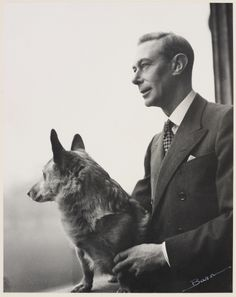 HM King George VI (1895-1952) with one of his corgis, 1948