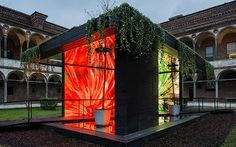 Milan design week. A wooden cabin roofed with trailing plants. Inside in sync with pounding music  its walls pulsated with compelling imagery from around the world, each picture mirrored by a new reflective material used to cover floors and ceiling.