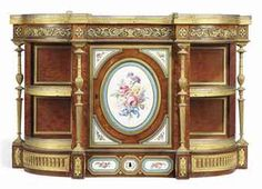 19th century porcelain mounted cabinet | ... ORMOLU AND SEVRES PORCELAIN-MOUNTED BOIS SATINE AND SYCAMORE CABINET