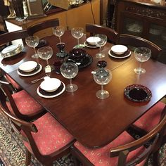 Beautiful vintage wood table with maching chairs