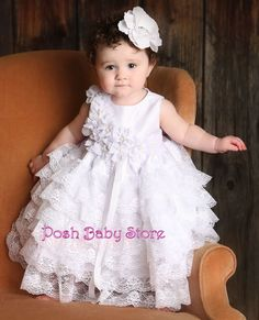 White Baby Satin Princess Lace Girls Dress