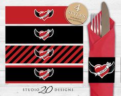 Instant Download Winged Heart Tattoo Napkin by Studio20Designs