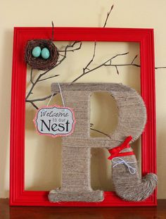 this would look super cute hanging on the front door as a wreath! Try it with CTMH frame. Frame Crafts, Crafts To Do, Crafts For Kids, Arts And Crafts, Diy Crafts, Photo Wall Hanging, Monogram Frame, Frame Wreath, Craft Fairs