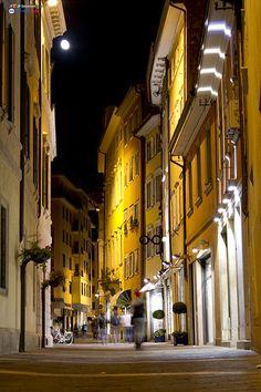 Evening in Trento, Italy.  Amazing how atmosphere differs between daylight and evening ....  ASPEN CREEK TRAVEL - karen@aspencreektravel.com