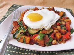sweet potato chickpea hash with fried egg - a friend made this for me when I had a baby - it was delicious!