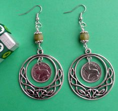 Earrings from Ireland, Irish Threepence Coin Drop Earrings, 8 mm Connemara Marble Bead with Surgical Steel wires, Several dates Coin Jewelry, Etsy Jewelry, Celtic Rings, Connemara, Irish, Coins, Marble, Drop Earrings, Beads