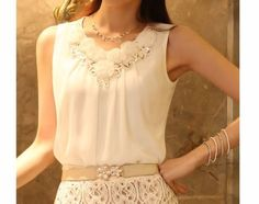 New-Fashion-Womens-Tops-Sleeveless-Vest-Chiffon-Pleated-Shirt-Career-Blouse