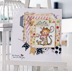Whiff of Joy:  cute birthday card - coloring tutorial with distress markers by Katharina