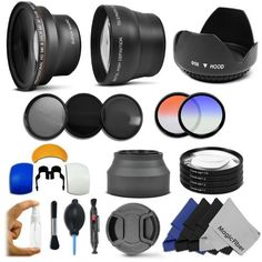 Essential Lens and Filter Kit for 58MM CANON REBEL and EOS Series Cameras including T4i T3i 60D 7D 6D 5D T2i T1i XT XTi XSi - Includes: .43x Wide Angle Lens + 2.2x Telephoto Lens + Filter Kit (UV CPL ND4) + Macro Close-Up Set + Collapsible Lens Hood + Tulip Lens Hood + Center Pinch Lens Cap + 2 Color Filters + Flash Diffuser Set + Lens Cleaning Pen + Deluxe Cleaning Kit + 4 MagicFiber Microfibers by Goja, http://www.amazon.com/dp/B004VC4LUS/ref=cm_sw_r_pi_dp_2h19rb1X32WG9