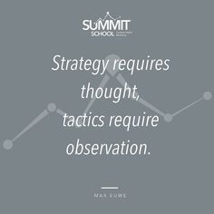 This is actually gold - Strategy requires thought tactics require observation.  When thinking about where you are headed next year in your business most of us will be taking time to do the first one - but what about the second one.  Have you taken time over the year to sit back and watch how things pan out?  We also need to observe what is really happening sometimes we need to change course - so if we not monitoring things then we may miss opportunities or worst keep doing the wrong things…