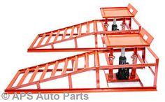 Heavy-Duty-Hydraulic-Car-Ramps-1500-lbs-Garage-Van-Mechanic-Bottle-Jack-Ramp-New