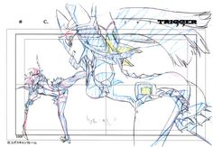 """artbooksnat: """"Kill la Kill (キルラキル)Key frames from the 360-degree fight sequence between Ryuko and Satsuki, at the end of the first opening animation, were featured in the Kill la Kill Animation Originals Book Vol. 01 (Amazon US 