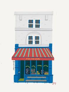 Fish & Chips Shop Sketch #30Days30Sketches @justnoey