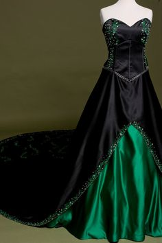 And there's this wicked, black and green statement gown.