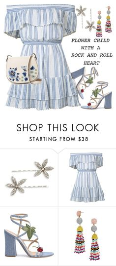 """""""Flower Child"""" by petalp ❤ liked on Polyvore featuring Jennifer Behr, LoveShackFancy, Gianvito Rossi, BaubleBar, French Connection and dress"""