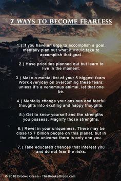 7 Ways to Become Fearless. - - 7 Ways to Become Fearless. Life Advice, Good Advice, Life Tips, Life Hacks, Trauma, Love Your Enemies, Psychology Facts, Spiritual Psychology, Self Improvement Tips