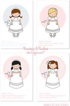 Recordatorios Primera Comunión para niñas | tartas y nubes de azúcar